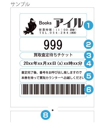 受付順番発券機 LineManager@NS 印字指定サンプル